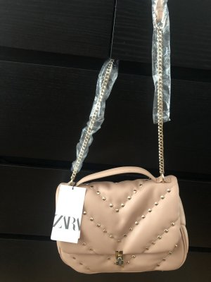 Zara Cross Body bag Tasche bieten nude Leder chain Ketten Henkel Rock stud