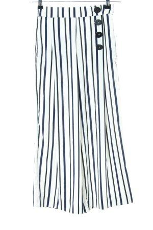 Zara Pantalone culotte bianco-blu motivo a righe stile casual
