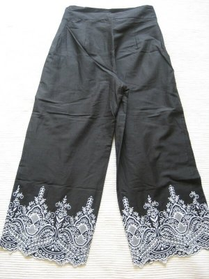 zara culottes sommerhose schwarz mit stickerei neu gr. s 36