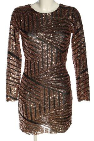 Zara Cut-Out-Kleid bronzefarben-schwarz grafisches Muster Elegant