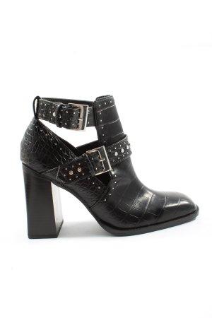 Zara Cut-Out-Stiefeletten schwarz Allover-Druck Elegant