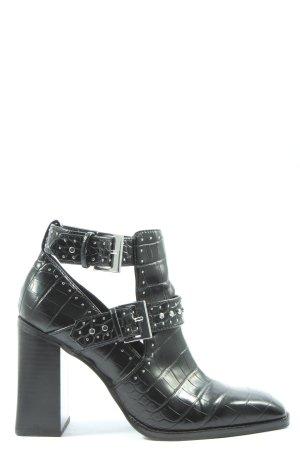 Zara Botki z wycięciem czarny-srebrny W stylu casual