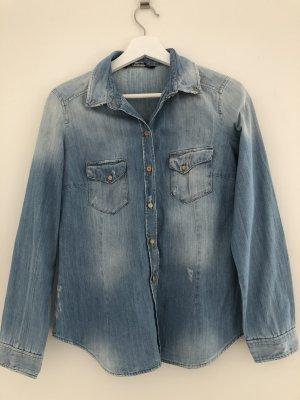 Zara Blouse en jean bleu azur