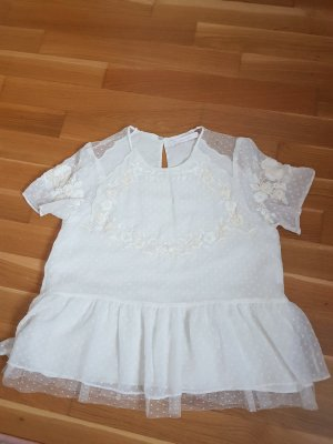 Zara Trafaluc Koszula z odcięciem pod biustem biały Poliester