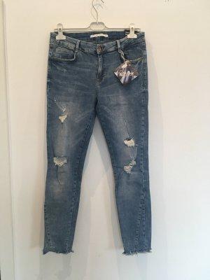 Zara Damaged Skinny Jeans 40 42 Blau Denim Destroyed Hose NEU mit Etikett
