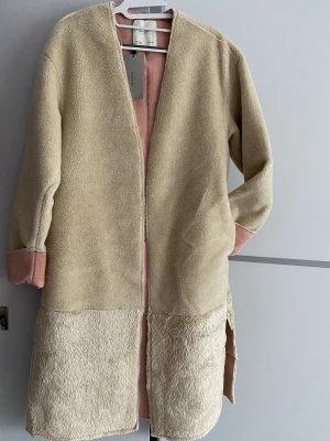 Zara Basic Cappotto in eco pelliccia beige-rosa
