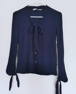 Zara Damen dunkel blau Bluse mit Schleifen Gr.XS 34