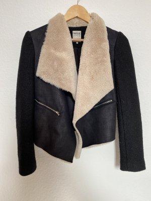 Zara Chaqueta de aviador negro-crema