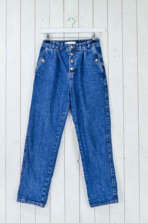 ZARA Damen Jeans Mom-Fit Blau Baumwolle Knöpfe Gr.34