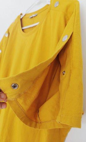 Zara Damen kurzärmelig T-Shirt Shirtkleid Baumwolle Minikleid oversize Gelb Gr. S 36
