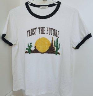 Zara Damen kurzärmelig T-Shirt weiß neu Gr.L 40