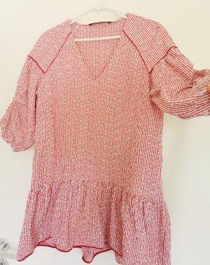 Zara Damen langärmelige süß Minikleid Sommerkleid Urlaub Rot weiß gestreift Gr.38 M