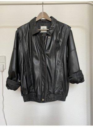Zara Damen Lederjacke schwarz M
