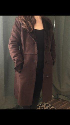Zara Basic Abrigo de cuero marrón oscuro