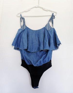 Zara Damen Trägerhemd Top jeans blau rückenfrei V-Ausschnitt Bodys Gr.XS 34