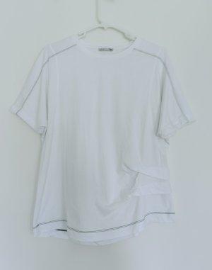 Zara Damen weißes kurzärmelige T-Shirt Gr.s 36 aus Baumwolle