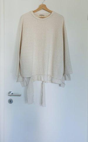Zara Damen Winter langärmelige Shirt Pullover Creme Gr.M 38
