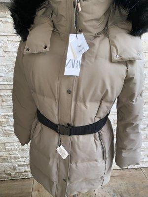 Zara Chaqueta de plumón gris claro-beige claro