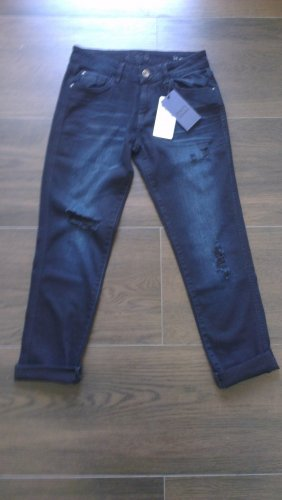 Zara Denim Boyfriend 34 Jeans schwarz/blau Used-Look
