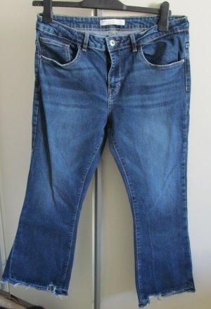 Zara Jeansowe spodnie dzwony stalowy niebieski