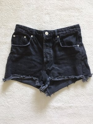 Zara Destroyed High Waist Jeans Shorts schwarz anthrazit Gr. 40