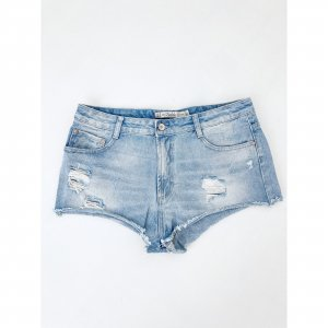 Zara Destroyed Jeansshorts Blau 40 42  Blogger Style Hippie Festival kurze Hose Shorts