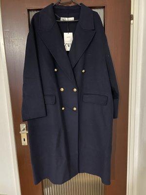Zara Wełniany płaszcz ciemnoniebieski