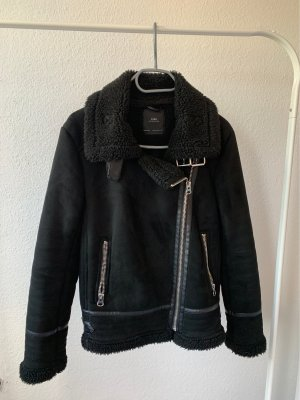 Zara Faux Leather Jacket black-silver-colored