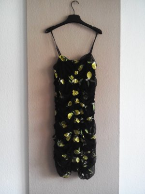 Zara drapiertes gesticktes Trägerkleid mit Zitronen, Grösse M, neu
