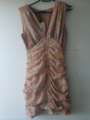 Zara Drapiertes Kleid mit Muster Minikleid