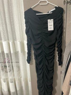 Zara drappiertes schwarzes kleid