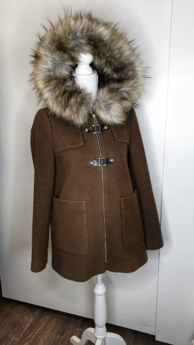 Zara Duffle Coat XS braun XXL Kapuze Fake Fur Wolle Mantel A-Linie