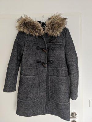 Zara Dufflecoat Wintermantel Wollmantel grau Gr. S warm kuschelig Pelz