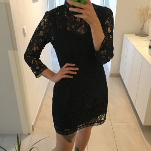 Zara dunkelblaues kurzes Spitzen Kleid Abendkleid