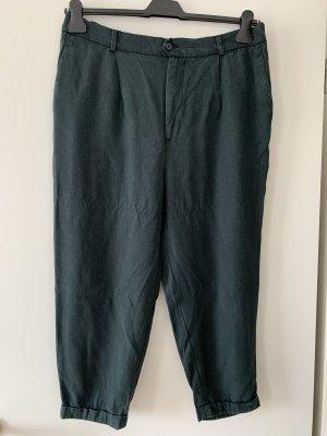 Zara Lniane spodnie ciemnozielony-petrol