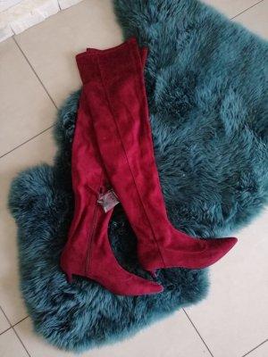 Zara dunkelrote Overknees Stiefel Neu