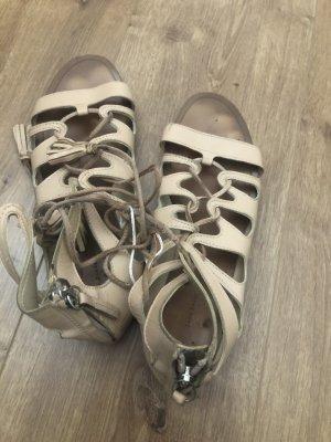 Zara echtleder sandalen nude 36