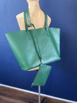 Zara Echtleder Shopper grün