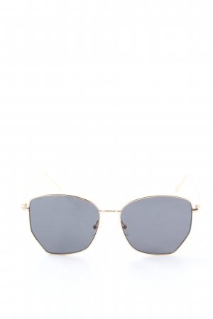 Zara eckige Sonnenbrille goldfarben-schwarz Casual-Look