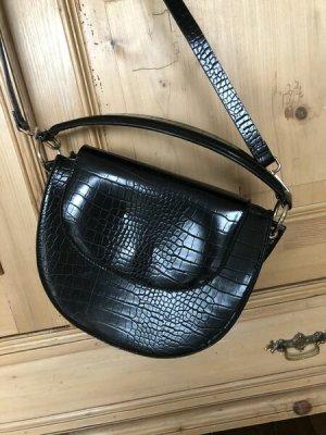 ZARA°Edle Handtasche°zum Umhängen und als Handtasche°schwarz°Krokoleder-Optik°Kunstleder°Schnallen silber°NEU