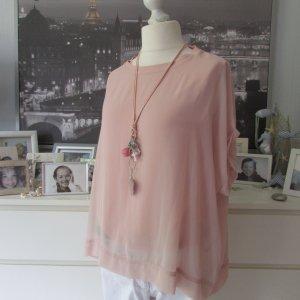 Zara * Edles 2-Lagen Blusen Shirt + Kette * rosa Chiffon * XXL=44/46