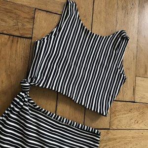 Zara Einteiler Bauchfrei Rückenfrei Streifen schwarz weiß