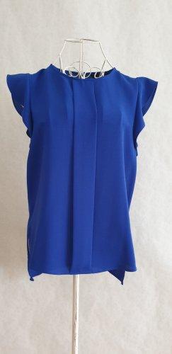 Zara Blouse à volants bleu