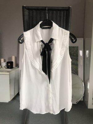 Zara Mouwloze blouse zwart-wit