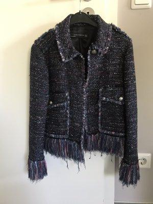 Zara Tweed Blazer dark blue-purple