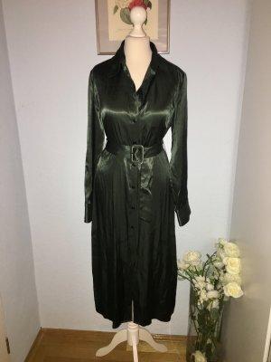 Zara Elegantes dunkelgrünes Satinkleid