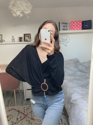 Zara Wikkelshirt zwart-bruin