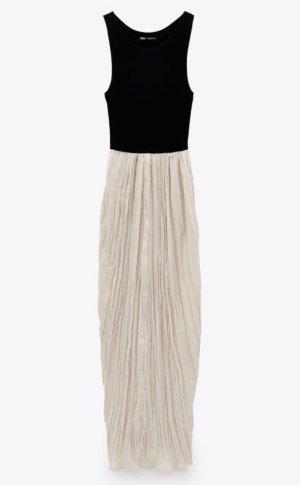 Zara ❤️ elegantes Kleid Maxikleid Plissee creme schwarz ❤️ M 38