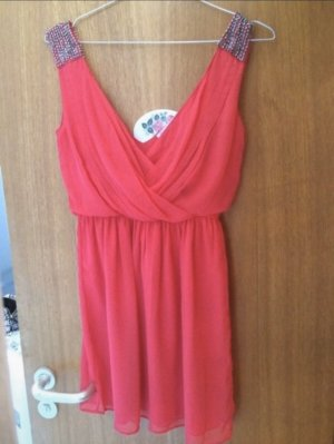 Zara Chiffon Dress bright red-salmon