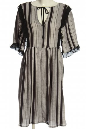 Zara Robe empire noir-blanc cassé motif rayé style décontracté